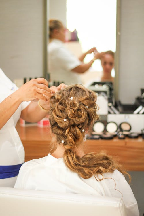 woman, hairdresser, wedding hair and makeup